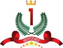 Insigne de gagnant sur leurs lauriers Images libres de droits