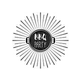 Insigne de gril de bannière de partie de BBQ Illustration de vecteur d'isolement sur le blanc Photographie stock libre de droits