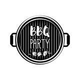 Insigne de gril de bannière de partie de BBQ Illustration de vecteur sur le blanc Photos libres de droits