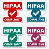 Insigne de HIPAA - autocollants d'acte de portabilité et de responsabilité d'assurance médicale maladie réglés illustration de vecteur