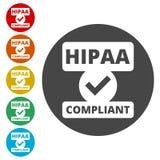 Insigne de HIPAA - la portabilité et la responsabilité d'assurance médicale maladie agissent illustration libre de droits