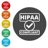 Insigne de HIPAA - la portabilité et la responsabilité d'assurance médicale maladie agissent illustration stock