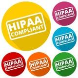 Insigne de HIPAA - les icônes d'acte de portabilité et de responsabilité d'assurance médicale maladie ont placé avec la longue om illustration de vecteur