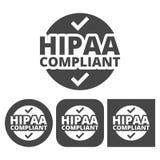 Insigne de HIPAA, portabilité d'assurance médicale maladie et acte de responsabilité - icônes de vecteur réglées illustration de vecteur