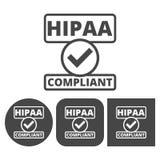 Insigne de HIPAA, portabilité d'assurance médicale maladie et acte de responsabilité - icônes de vecteur réglées illustration libre de droits