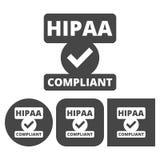 Insigne de HIPAA, portabilité d'assurance médicale maladie et acte de responsabilité - icônes de vecteur réglées illustration stock