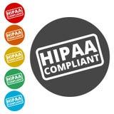 Insigne de HIPAA - portabilité d'assurance médicale maladie et ensemble d'icônes d'acte de responsabilité illustration libre de droits