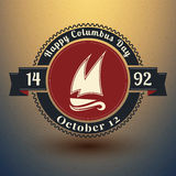 Insigne de jour de Columbus avec des symboles des Etats-Unis Illustration du vecteur EPS10 Image stock