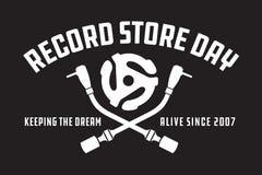 Insigne de jour de magasin ou conception record de vecteur d'emblème illustration stock