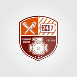 Insigne de service de tuyauterie de vintage, bannière ou emblème de logo Éléments sur le thème de l'entreprise de services de tuy illustration stock
