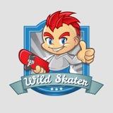 Insigne de sourire de garçon de patineur de bande dessinée Illustration de Vecteur