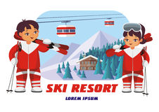 Insigne de station de sports d'hiver Photographie stock