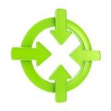 Insigne de symbole d'attention de flèche d'isolement Photo stock