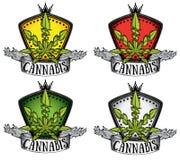 Insigne de symbole de feuille de conception de cannabis de marijuana Photos stock