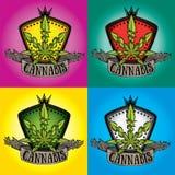 Insigne de symbole de feuille de conception de cannabis de marijuana Photos libres de droits