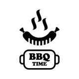 Insigne de temps de BBQ et gril de label Photographie stock