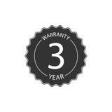Insigne de trois ans de garantie Photographie stock