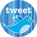 Insigne de Twitter Photographie stock