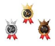 Insigne en bronze argenté de gagnant d'or Photo stock
