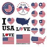 Insigne et label de Jour de la Déclaration d'Indépendance Image stock