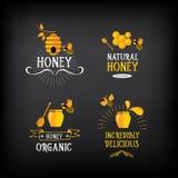 Insigne et label de miel Conception abstraite d'abeille Vecteur avec le graphique Image stock
