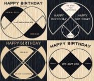 Insigne géométrique minimal de joyeux anniversaire de vintage sur le backgro en bois illustration stock