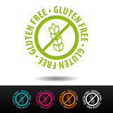 Insigne gratuit de gluten, logo, icône Illustration plate sur le fond blanc Photos libres de droits