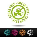 Insigne gratuit de sucre, logo, icône Illustration plate de vecteur sur le fond blanc Photographie stock libre de droits