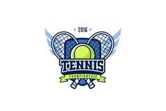 Insigne Logo Design de tennis Label d'identité de sport de graphiques de T-shirt Photographie stock libre de droits