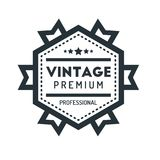 Insigne Logo Design Template Vector Symbol de hippie de vintage d'hexagone Photo libre de droits