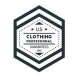 Insigne Logo Design Template Vector Symbol de hippie de vintage d'hexagone Photos stock