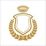 Insigne Logo Emblem Half Wreath avec le bouclier illustration de vecteur