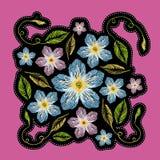 Insigne ou correction de mode Centaurée de broderie avec des feuilles pour la fille Photographie stock
