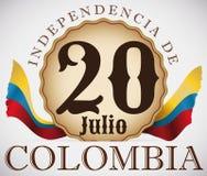 Insigne patriotique avec des drapeaux pour la célébration colombienne de Jour de la Déclaration d'Indépendance, illustration de v Photo libre de droits