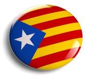 Insigne rond de drapeau de la Catalogne sur le blanc Image libre de droits