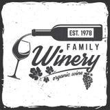 Insigne, signe ou label d'établissement vinicole de famille Illustration de vecteur illustration libre de droits