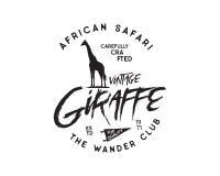 Insigne tiré par la main d'animal sauvage de vintage Forme incluse de silhouette de girafe, fanion et éléments de typographie Vie Photo libre de droits