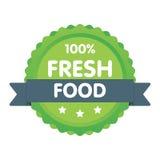 Insigne vert moderne d'eco label de nourriture fraîche de 100 pour cent Illustration d'autocollant Photographie stock libre de droits