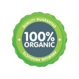 Insigne vert moderne d'eco label organique de 100 pour cent Illustration d'autocollant Image libre de droits