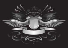 Insignes à ailes gothiques de bouclier Images libres de droits