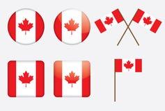 Insignes avec l'indicateur canadien Photos stock