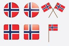 Insignes avec l'indicateur norvégien Photos stock