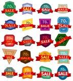 Insignes colorés avec le ruban rouge à vendre 70 pour cent  Image stock
