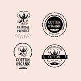 Insignes conception, produit biologique de coton Vecteur avec le graphique Photos stock