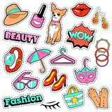 Insignes, corrections, autocollants - bulle comique, chien, lèvres et vêtements de filles de mode dans le bruit Art Comic Style Image stock