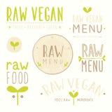 Insignes crus de vegan illustration stock