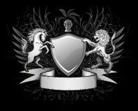Insignes d'écran protecteur de lion et de cheval Images libres de droits