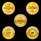 Insignes d'or en métal Photos stock