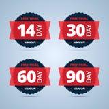 Insignes d'essai gratuit 14, 30, 60 et 90 autocollants de jour Photos libres de droits