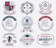 Insignes 2 d'université et d'université colorés illustration de vecteur